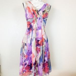 Adrianna Papell Sleeveless Floral Dress Size 6 EUC